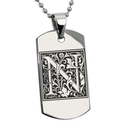 Stainless Steel Letter N Alphabet Initial Floral Box Monogram Engraved Dog Tag Pendant Necklace - Tioneer