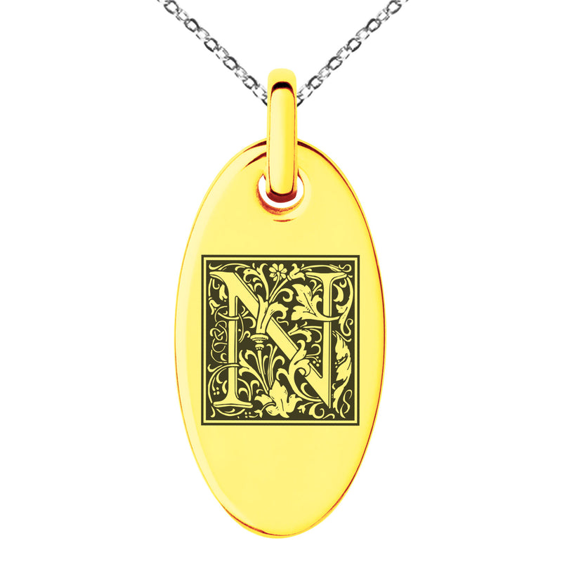 Stainless Steel Letter N Initial Floral Box Monogram Engraved Small Oval Charm Pendant Necklace