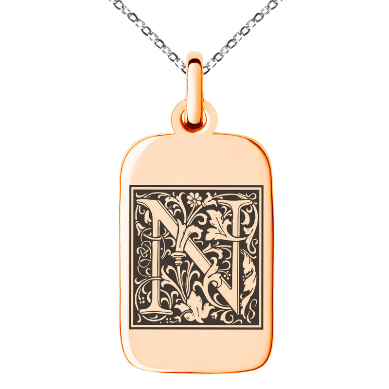 Stainless Steel Letter N Initial Floral Box Monogram Engraved Small Rectangle Dog Tag Charm Pendant Necklace