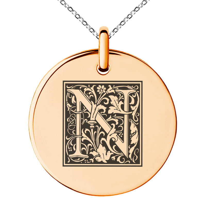 Stainless Steel Letter N Initial Floral Box Monogram Engraved Small Medallion Circle Charm Pendant Necklace