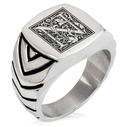 Stainless Steel Letter N Alphabet Initial Floral Box Monogram Chevron Pattern Biker Style Polished Ring - Tioneer