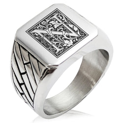 Stainless Steel Letter N Alphabet Initial Floral Box Monogram Geometric Pattern Biker Style Polished Ring - Tioneer