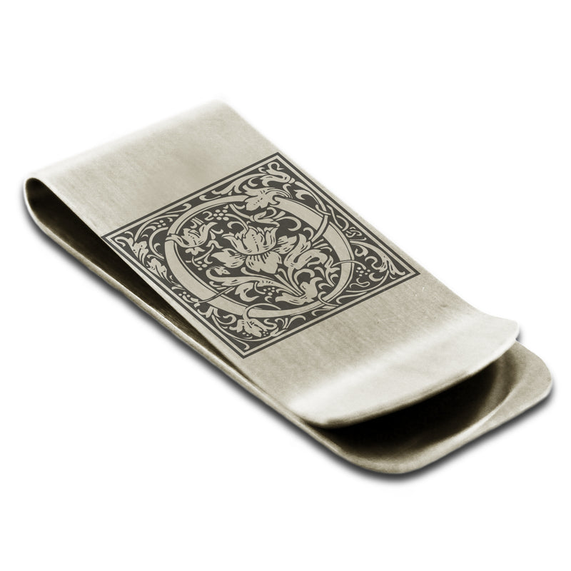Stainless Steel Letter O Alphabet Initial Floral Box Monogram Engraved Money Clip Credit Card Holder - Tioneer
