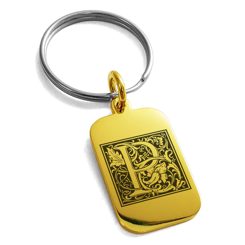 Stainless Steel Letter P Initial Floral Box Monogram Engraved Small Rectangle Dog Tag Charm Keychain Keyring - Tioneer