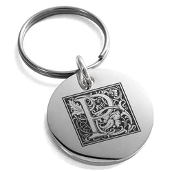 Stainless Steel Letter P Initial Floral Box Monogram Engraved Small Medallion Circle Charm Keychain Keyring - Tioneer