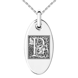 Stainless Steel Letter P Initial Floral Box Monogram Engraved Small Oval Charm Pendant Necklace