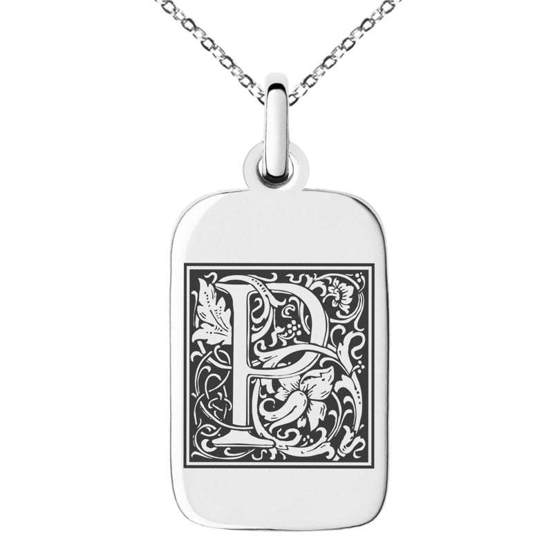 Stainless Steel Letter P Initial Floral Box Monogram Engraved Small Rectangle Dog Tag Charm Pendant Necklace