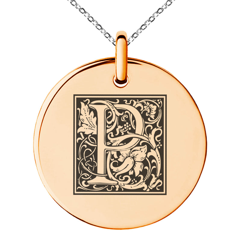 Stainless Steel Letter P Initial Floral Box Monogram Engraved Small Medallion Circle Charm Pendant Necklace