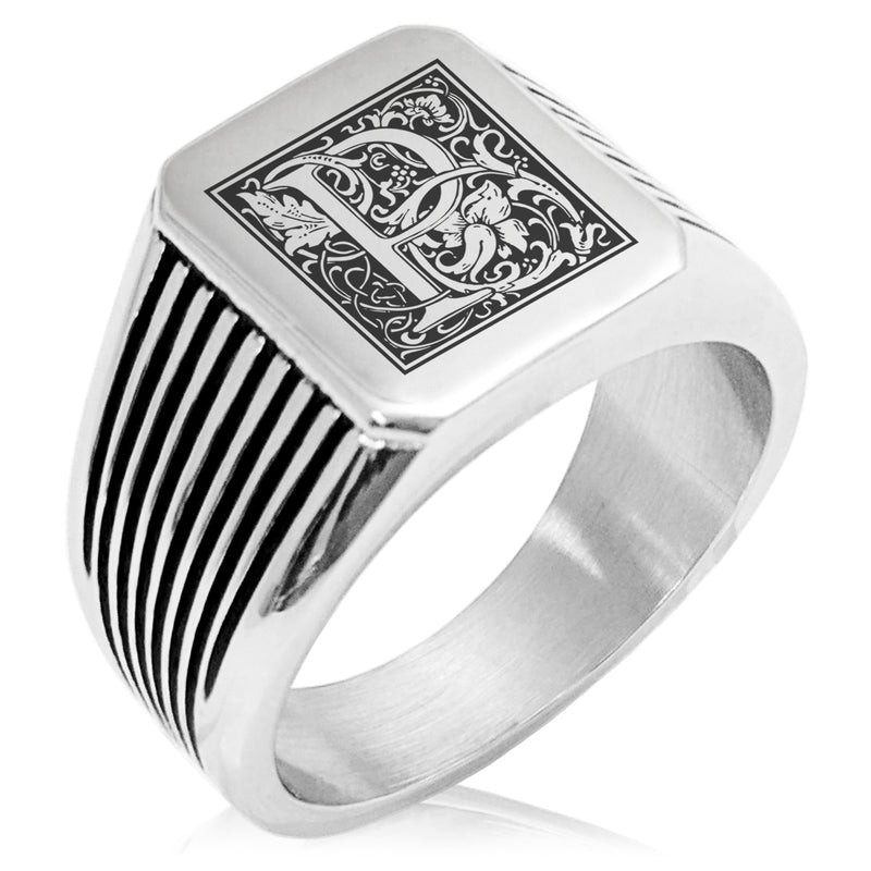Stainless Steel Letter P Alphabet Initial Floral Box Monogram Needle Stripe Pattern Biker Style Polished Ring - Tioneer
