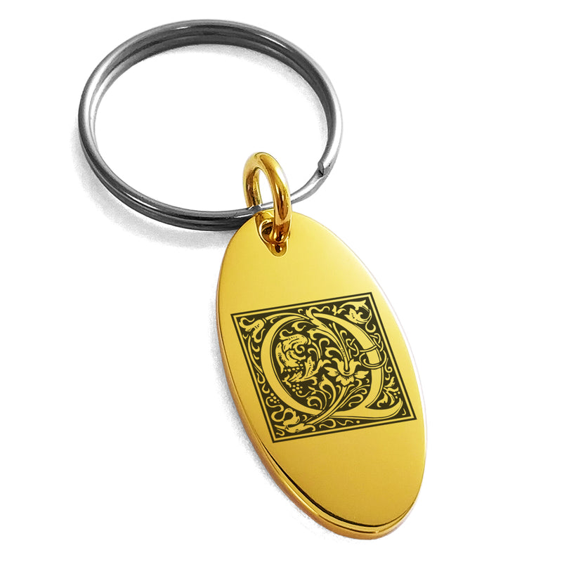 Stainless Steel Letter Q Initial Floral Box Monogram Engraved Small Oval Charm Keychain Keyring - Tioneer