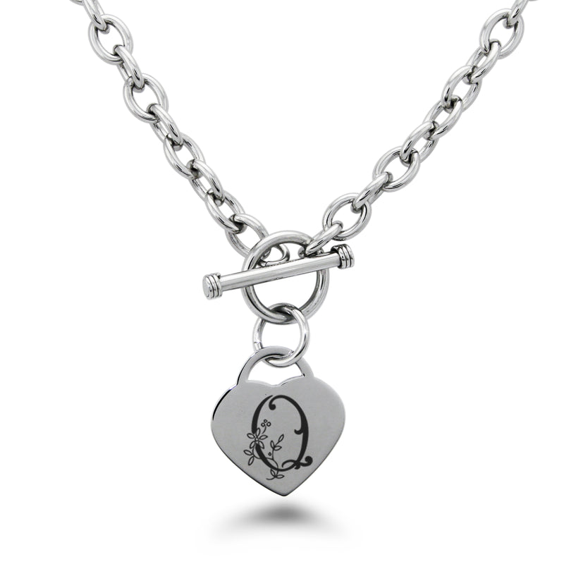 Stainless Steel Letter Q Alphabet Initial Floral Monogram Engraved Heart Charm Toggle Link Necklace - Tioneer