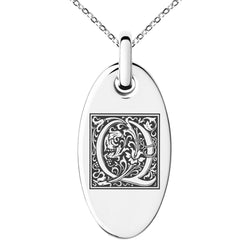 Stainless Steel Letter Q Initial Floral Box Monogram Engraved Small Oval Charm Pendant Necklace