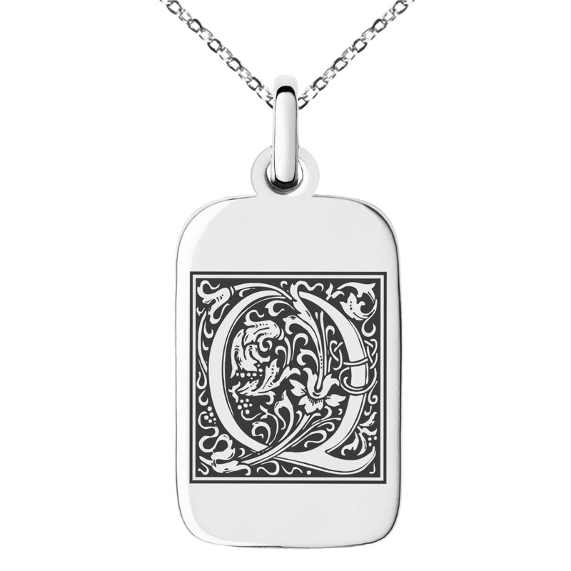 Stainless Steel Letter Q Initial Floral Box Monogram Engraved Small Rectangle Dog Tag Charm Pendant Necklace