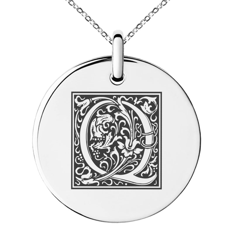 Stainless Steel Letter Q Initial Floral Box Monogram Engraved Small Medallion Circle Charm Pendant Necklace