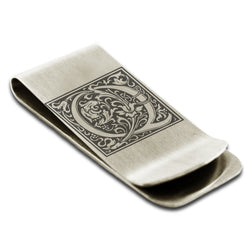 Stainless Steel Letter Q Alphabet Initial Floral Box Monogram Engraved Money Clip Credit Card Holder - Tioneer