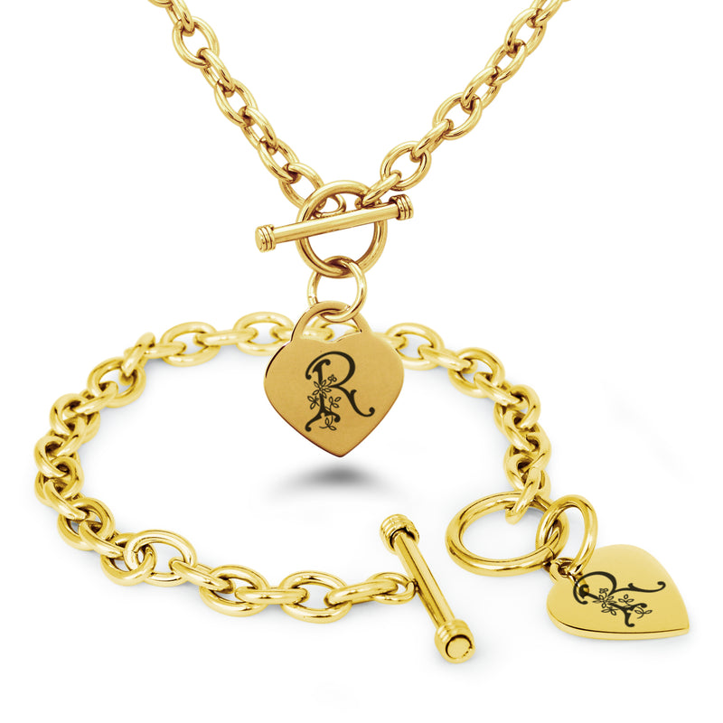 Stainless Steel Letter R Alphabet Initial Floral Monogram Engraved Heart Charm Toggle Link Bracelet Necklace Set - Tioneer
