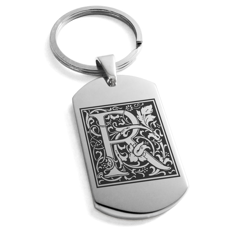 Stainless Steel Letter R Alphabet Initial Floral Box Monogram Engraved Dog Tag Keychain Keyring - Tioneer