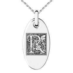 Stainless Steel Letter R Initial Floral Box Monogram Engraved Small Oval Charm Pendant Necklace