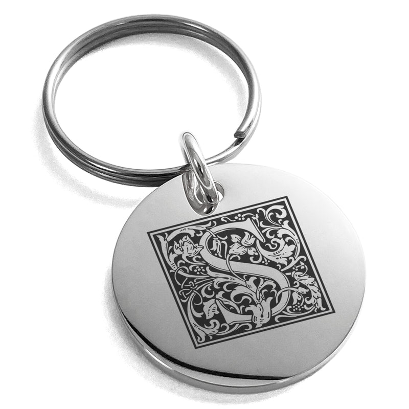 Stainless Steel Letter S Initial Floral Box Monogram Engraved Small Medallion Circle Charm Keychain Keyring - Tioneer
