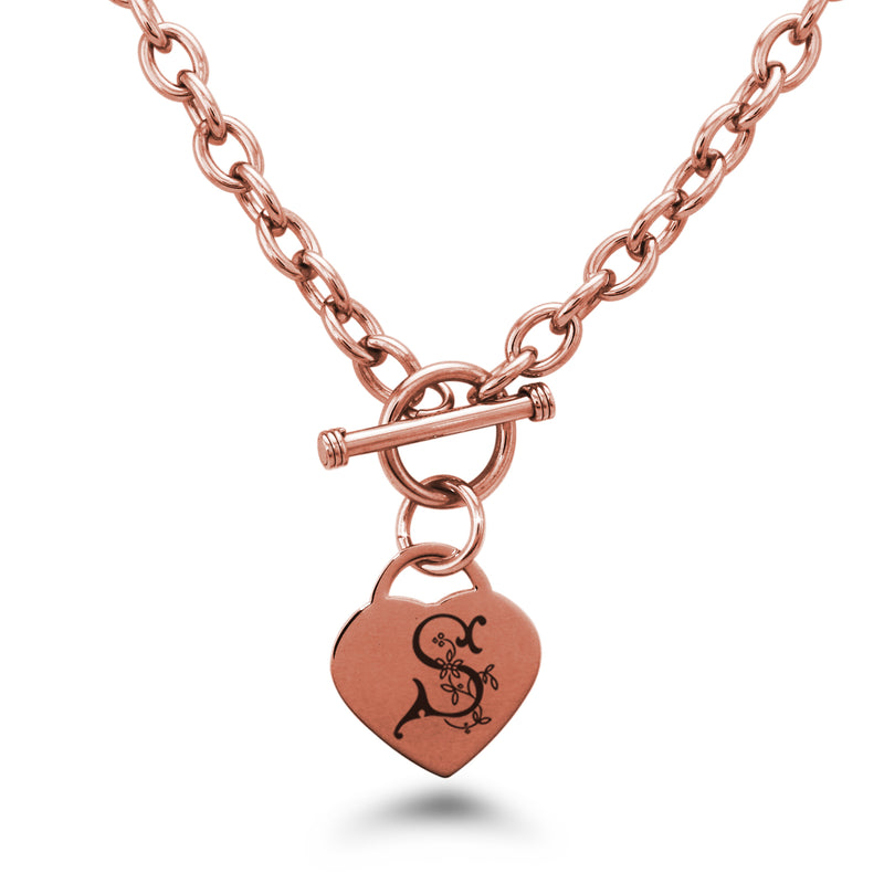 Stainless Steel Letter S Alphabet Initial Floral Monogram Engraved Heart Charm Toggle Link Necklace - Tioneer