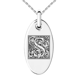 Stainless Steel Letter S Initial Floral Box Monogram Engraved Small Oval Charm Pendant Necklace