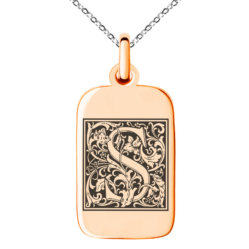 Stainless Steel Letter S Initial Floral Box Monogram Engraved Small Rectangle Dog Tag Charm Pendant Necklace