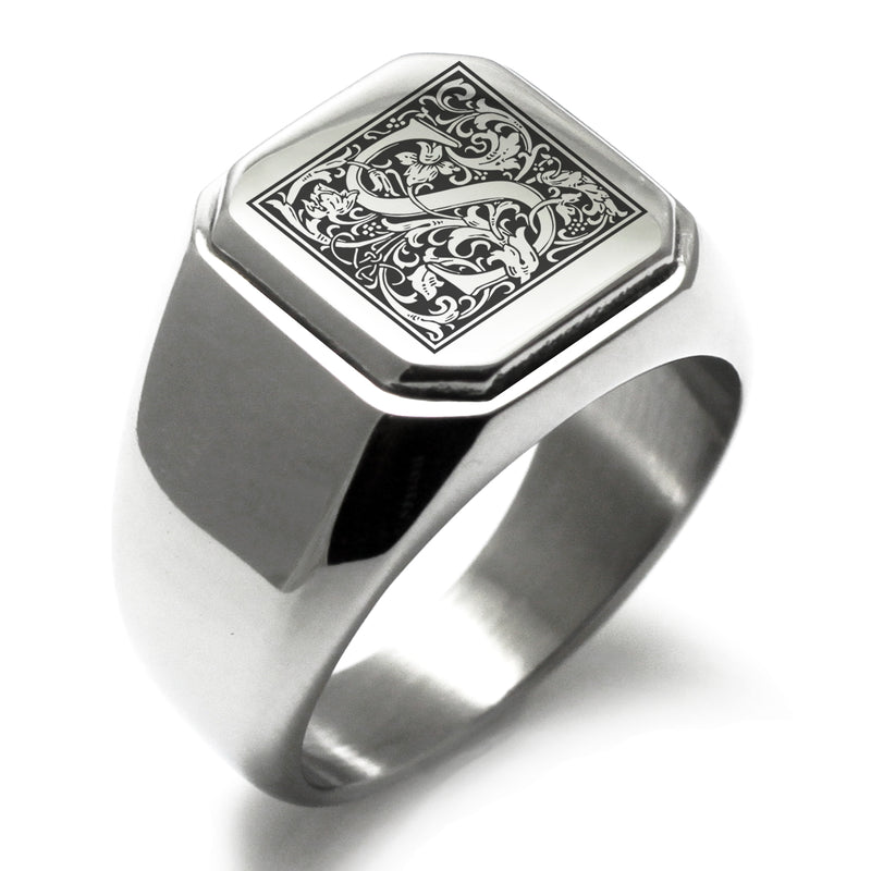 Stainless Steel Letter S Alphabet Initial Floral Box Monogram Engraved Square Flat Top Biker Style Polished Ring - Tioneer