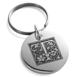 Stainless Steel Letter T Initial Floral Box Monogram Engraved Small Medallion Circle Charm Keychain Keyring - Tioneer