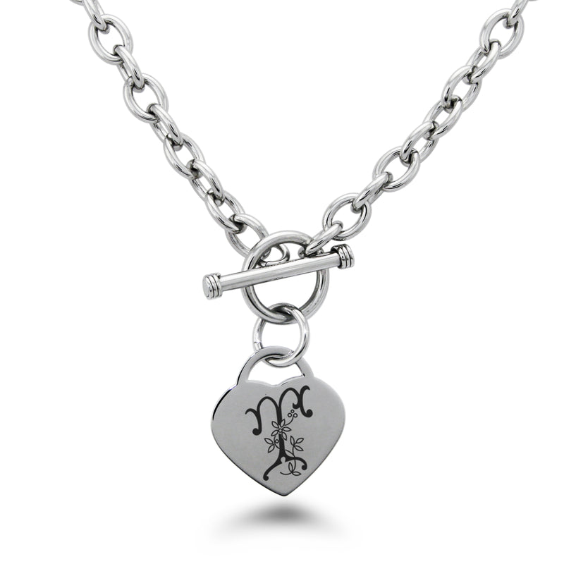 Stainless Steel Letter T Alphabet Initial Floral Monogram Engraved Heart Charm Toggle Link Necklace - Tioneer