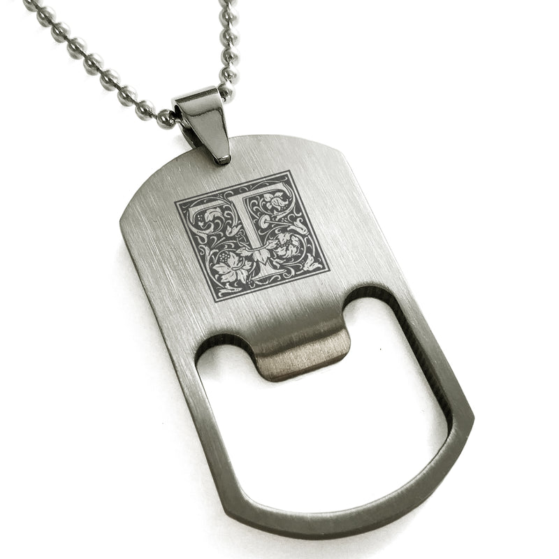 Stainless Steel Letter T Alphabet Initial Floral Box Monogram Engraved Bottle Opener Dog Tag Pendant Necklace - Tioneer