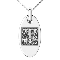 Stainless Steel Letter T Initial Floral Box Monogram Engraved Small Oval Charm Pendant Necklace