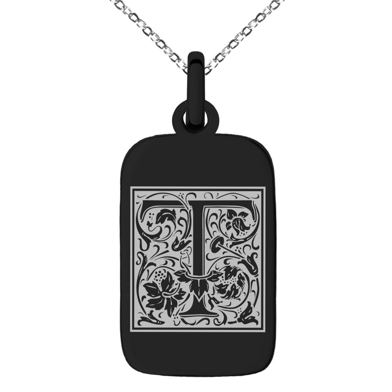 Stainless Steel Letter T Initial Floral Box Monogram Engraved Small Rectangle Dog Tag Charm Pendant Necklace
