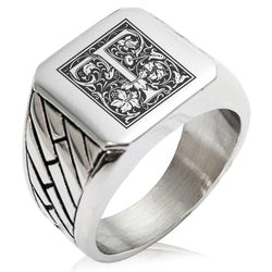 Stainless Steel Letter T Alphabet Initial Floral Box Monogram Geometric Pattern Biker Style Polished Ring - Tioneer