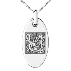 Stainless Steel Letter U Initial Floral Box Monogram Engraved Small Oval Charm Pendant Necklace