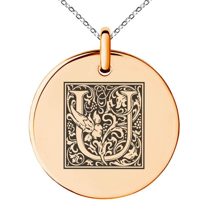 Stainless Steel Letter U Initial Floral Box Monogram Engraved Small Medallion Circle Charm Pendant Necklace
