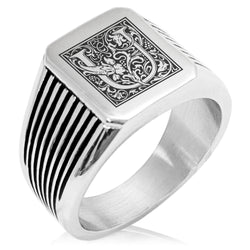 Stainless Steel Letter U Alphabet Initial Floral Box Monogram Needle Stripe Pattern Biker Style Polished Ring - Tioneer