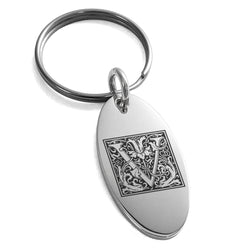 Stainless Steel Letter V Initial Floral Box Monogram Engraved Small Oval Charm Keychain Keyring - Tioneer