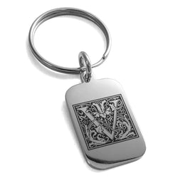 Stainless Steel Letter V Initial Floral Box Monogram Engraved Small Rectangle Dog Tag Charm Keychain Keyring - Tioneer
