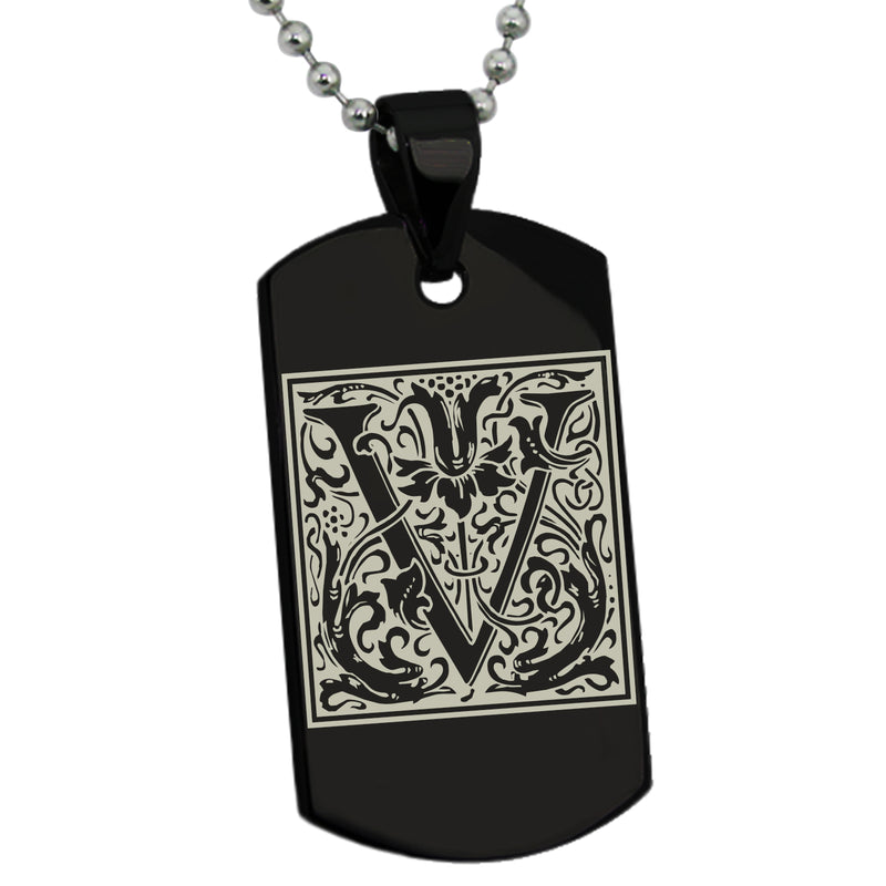 Stainless Steel Letter V Alphabet Initial Floral Box Monogram Engraved Dog Tag Pendant Necklace - Tioneer