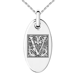 Stainless Steel Letter V Initial Floral Box Monogram Engraved Small Oval Charm Pendant Necklace