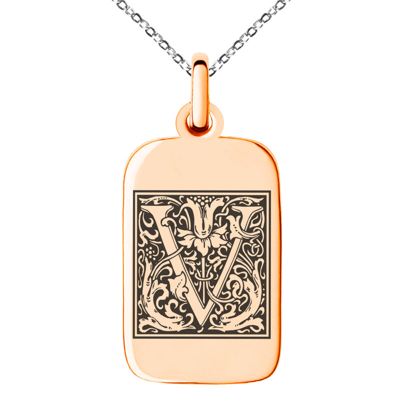 Stainless Steel Letter V Initial Floral Box Monogram Engraved Small Rectangle Dog Tag Charm Pendant Necklace
