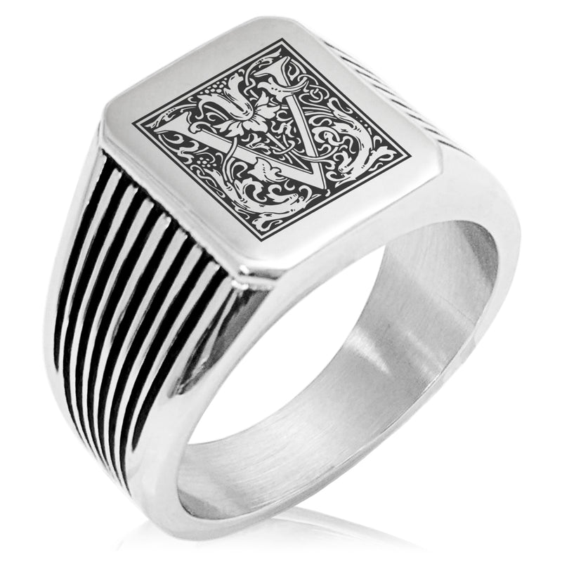 Stainless Steel Letter V Alphabet Initial Floral Box Monogram Needle Stripe Pattern Biker Style Polished Ring - Tioneer