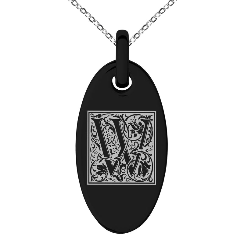 Stainless Steel Letter W Initial Floral Box Monogram Engraved Small Oval Charm Pendant Necklace