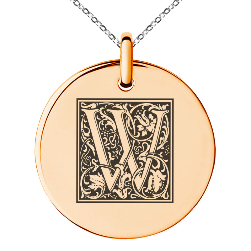 Stainless Steel Letter W Initial Floral Box Monogram Engraved Small Medallion Circle Charm Pendant Necklace