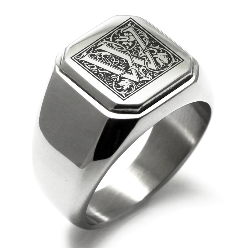 Stainless Steel Letter W Alphabet Initial Floral Box Monogram Engraved Square Flat Top Biker Style Polished Ring - Tioneer