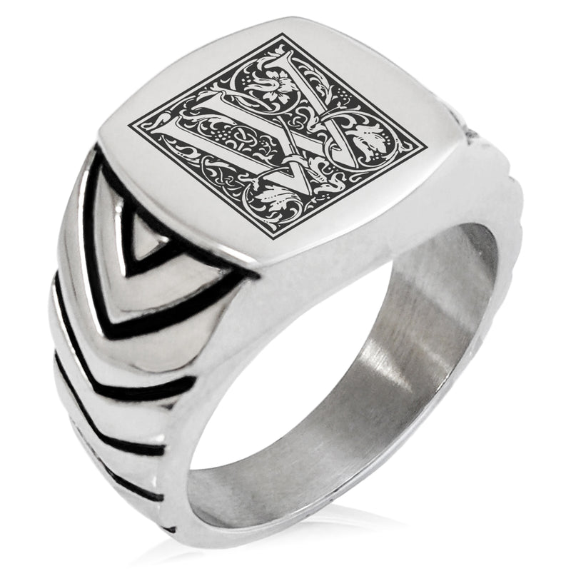 Stainless Steel Letter W Alphabet Initial Floral Box Monogram Chevron Pattern Biker Style Polished Ring - Tioneer