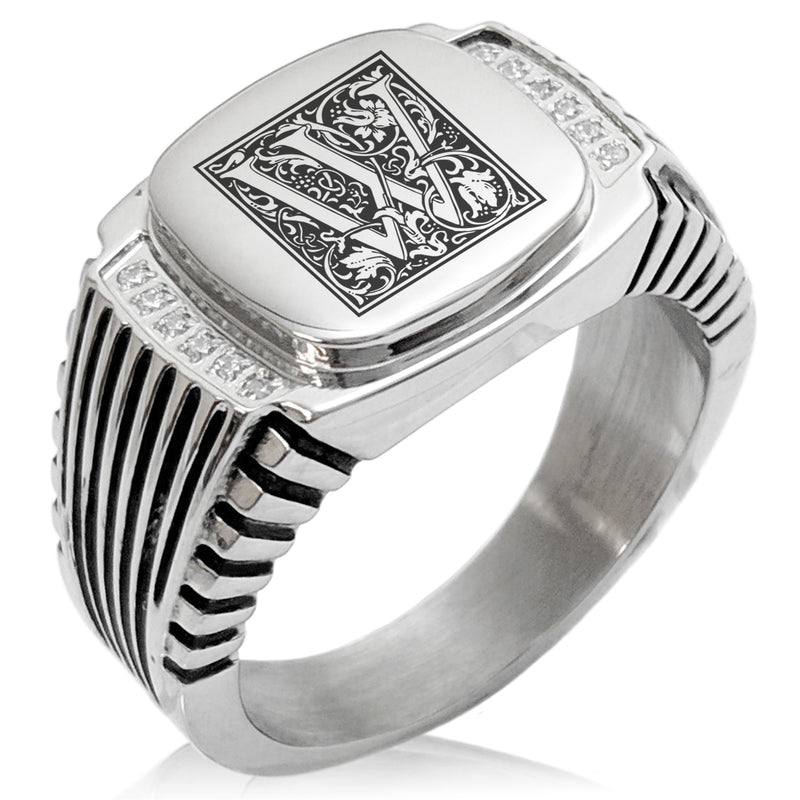 Stainless Steel Letter W Alphabet Initial Floral Box Monogram CZ Ribbed Needle Stripe Pattern Biker Style Polished Ring - Tioneer