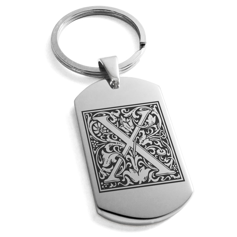 Stainless Steel Letter X Alphabet Initial Floral Box Monogram Engraved Dog Tag Keychain Keyring - Tioneer