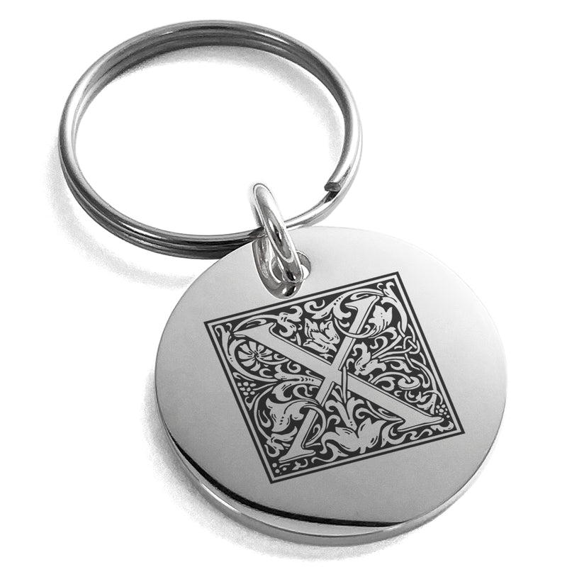 Stainless Steel Letter X Initial Floral Box Monogram Engraved Small Medallion Circle Charm Keychain Keyring - Tioneer