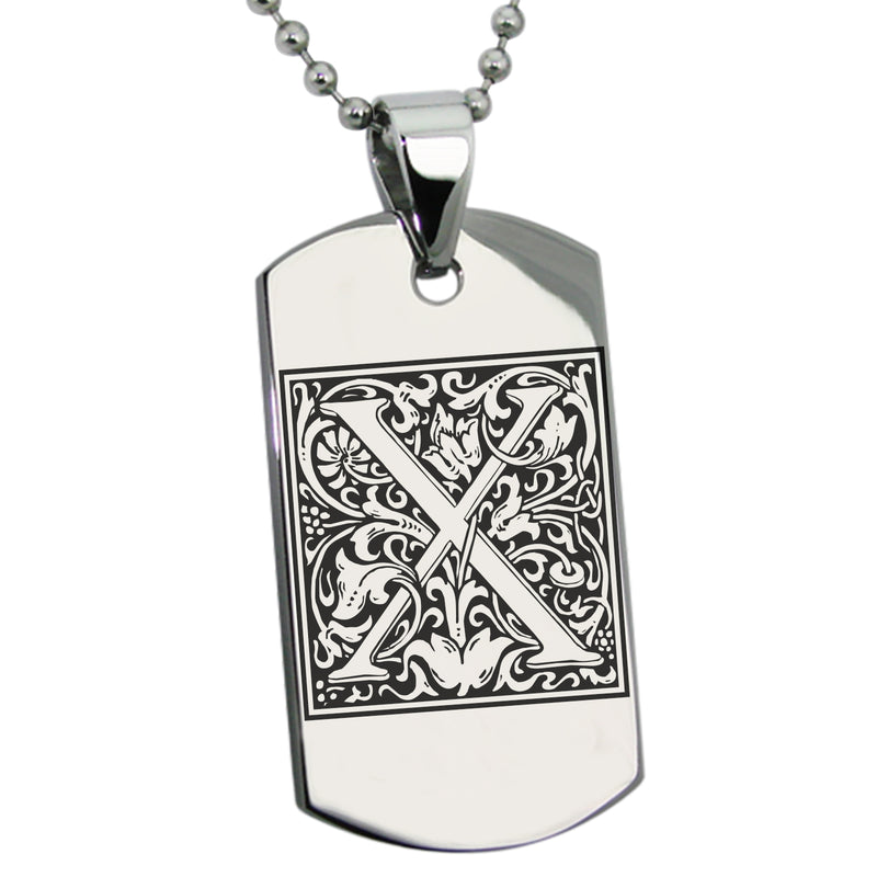 Stainless Steel Letter X Alphabet Initial Floral Box Monogram Engraved Dog Tag Pendant Necklace - Tioneer